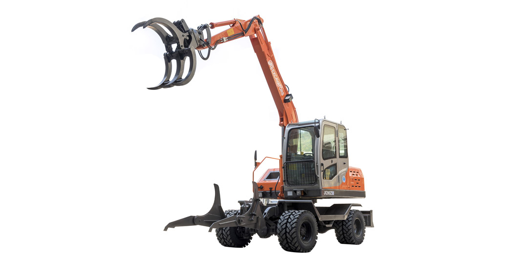 Jing Gong hot sale 90Z wheel excavator with sugarcane grapple 360 degree rotation