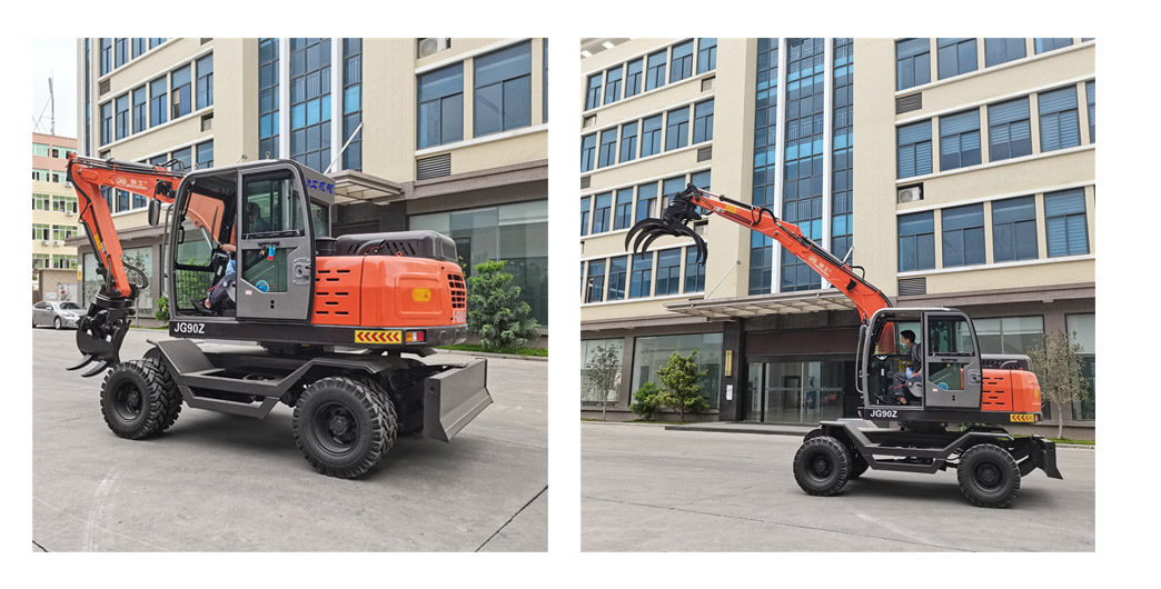 wheeled excavator with sugarcane harvest grapple of JingGong manufacturer in China