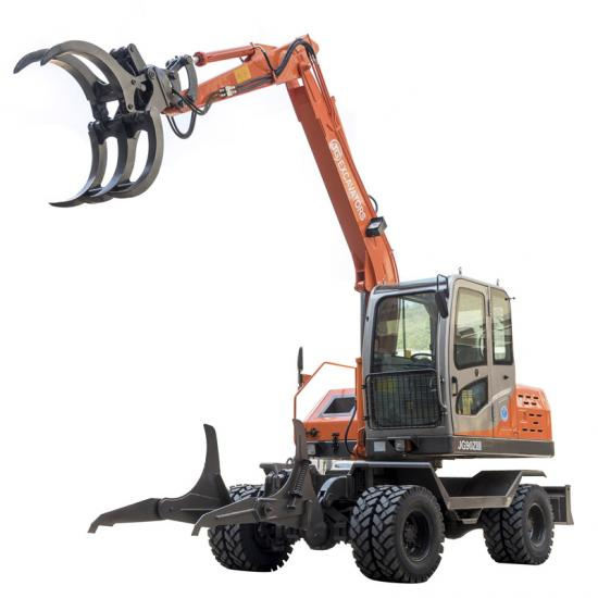 Jing Gong 90Z wheel excavator with grapple